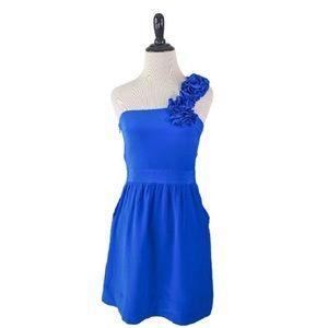 Yumi Kim Minya Blue 100% Silk One Sleeve Dress XS